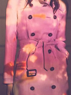 A vibrant projection on the iconic Burberry trench coat