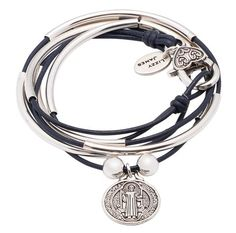 Girlfriend wrap leather wrap bracelet Gloss Navy leather with St Benedict charm, comes as shown