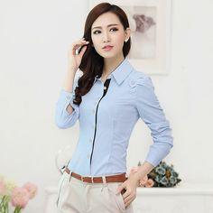 Fashion women long sleeve shirt 2019 New slim elegant blouses shirts ladies white chiffon office work plus size clothes tops Older Women Fashion, Womens Fashion For Work, Work Fashion, Fashion Edgy, Fashion Trends, Ladies Shirts Formal, Business Casual Dresscode, Mode Outfits, Fashion Outfits