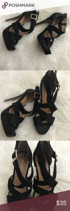 Aldo heels In good condition. Only used for 1 party. Comfy strappy heel. Size 7. Glitter look and suede look. Aldo Shoes Heels