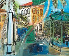 Raoul Dufy - Hyeres Squaure the Obelisk and Bandstand, 1927