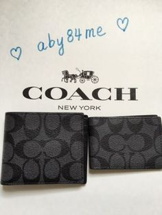 NWT Coach Signature Compact ID PVC Leather Men's Wallet Charcoal Black F74993