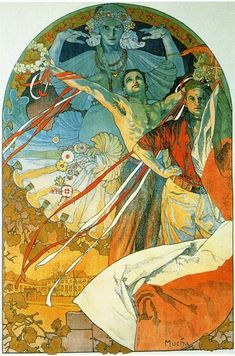 """Artworks tagged """"male-portraits""""  Alphonse Mucha,The 8th Sokol Festival. lithograph. 1912. 