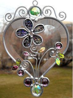 Beveled Stained Glass Heart Suncatcher by JasGlassArt - Stained Glass, via Flickr