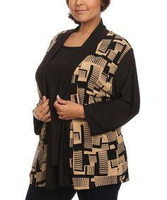 Beige & Black Geometric Layer Cardigan Top - Plus