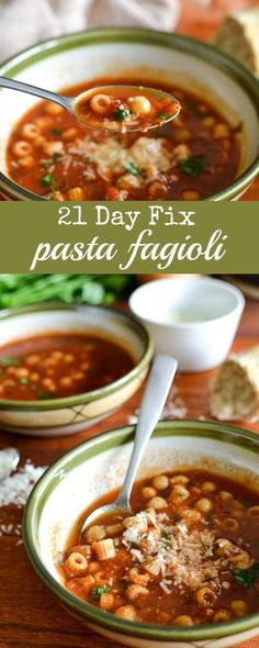 Pasta Fagioli - A healthy soup recipe that would make a great lunch for the 21 Day Fix!
