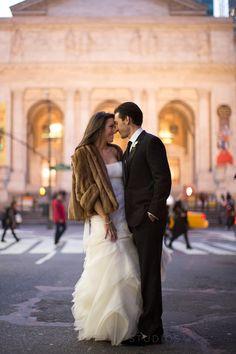 Fantastic twilight wedding photo outside of the New York Public Library