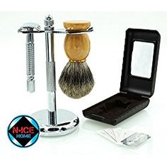 Wet Shave Kit - Shaving Kit Includes Pure Badger Shaving Brush, Chrome Stand & Double Edge Razor, with 5 Double Edge Razor Blades ; Premium Shave Set, Men Shaving Set, Valentines Day Gifts, Valentines Day Gifts for Him