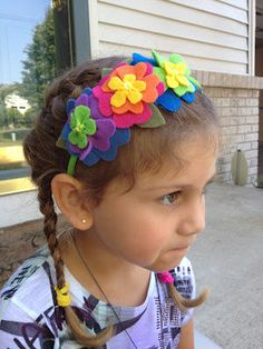 Pretty spring flowers headband felt by Naneville on Etsy, $9.50