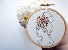 креативная современая вышивка цветы