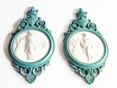 Mint green Vintage Syroco Goddess Ornate Wall Ornament, Matched Set of Winter and Spring