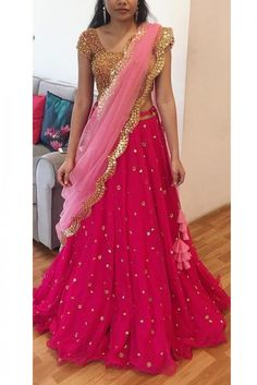 Georgette Lehenga Choli In Pink Colour WhatsApp us for Lehenga Saree Design, Half Saree Lehenga, Lehnga Dress, Lehenga Blouse, Indian Lehenga, Indian Bridal Lehenga, Lehenga Designs, Red Lehenga, Lehenga Choli Wedding