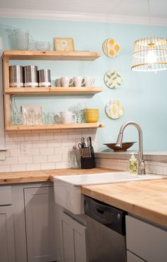 Remodeling Kitchen Countertops Reclaimed butcher block countertops with blue wall in kitchen. Cute Kitchen, Diy Kitchen, Kitchen Decor, Kitchen Cabinets, Mint Kitchen Walls, Grey Cabinets, Kitchen Ideas, Mint Walls, Awesome Kitchen