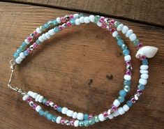 Size 10 inches Pale Pink and White Beaded Anklet Glass Bicone Beads and Seed Beads