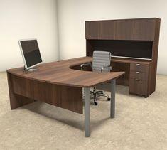 5pc U Shaped Modern Contemporary Executive Office Desk Set, #OF CON U24