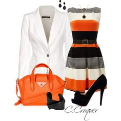 """""""White Blazer/Stripe Dress"""" by ccroquer on Polyvore  Like it for the October/November months!!"""
