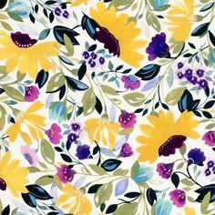 KIM PARKER, CLARKE & CLARKE Prints Fabric - Isabelle's Garden L Chartreuse Floral - Stylized Fabric Pattern