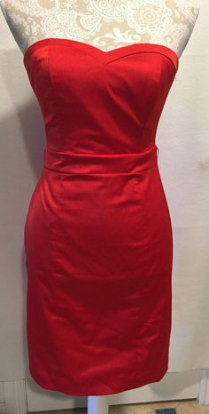 H&M Bodycon Cocktail Strapless Sweetheart Neckline Homecoming Red Dress Size…
