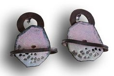 """Earrings: Impossible Earrings Three, Enameled and oxidized copper and silver. From """"Impossible Landscapes"""" Series. Enamel Jewelry, Metal Jewelry, Jewelry Art, Beaded Jewelry, Jewelry Accessories, Jewelry Design, Handmade Copper, Handmade Jewelry, Porcelain Jewelry"""