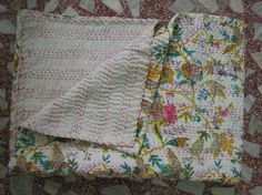 Cotton sari Kantha Bedspread Quilt.Blanket Throw Gudari, Gudri Reversible Indian Bedding,Quilt Kantha,Autumn Throw Twin Size 60x90