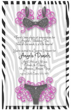Snazzy! Lingerie Shower Invitations, Bridal Lingerie Shower, Lingerie Party, Bridal Shower Cakes, Bridal Shower Gifts, Classy Lingerie, Black Lingerie, Bridal Shower Questions, Bachelorette Party Games