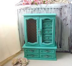 Aqua Green Tall Jewelry Box Vintage Teal by WillowsEndCottage