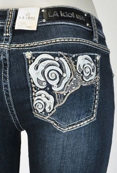 LA Idol Boot Cut Jeans Size 15 Abstract Rhinestone Rose Flower Jewel Stud 5234BT #LAIdol #BootCut