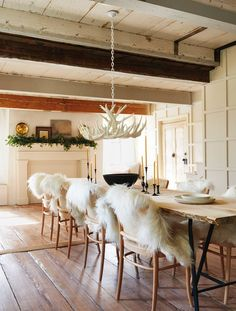 Antler Chandelier and Flokati Throws on chairs