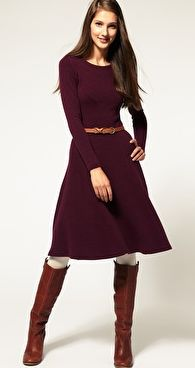 ASOS Midi Dress In Wool Jersey With Seamed Detail