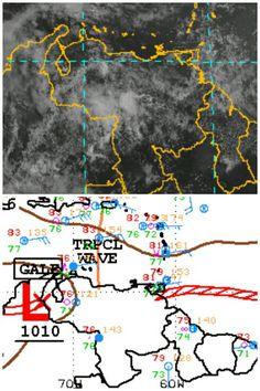 Venezuela: Al Oeste, baja presión y vientos; al Norte, Onda Tropical No.25; al Este, ZCIT. Nubosidad Suroccidente.
