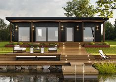 Waterfront Cottage, Lake House Plans, Outdoor Furniture Sets, Outdoor Decor, Tiny House, Villa, Cabin, Architecture, Beach Houses