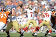 San Francisco 49ers quarterback Colin Kaepernick (7) passes against the Denver Broncos during the second half of an NFL preseason football game in Denver, Sunday, Aug. 26, 2012. (AP Photo/Jack Dempsey) Photo: Jack Dempsey, Associated Press / SF