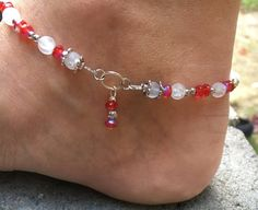 Anklet Red Anklet Holiday Anklet White by ClayNmetalConnection Anklet Jewelry, Etsy Jewelry, Jewelry Sets, Beaded Jewelry, Jewellery, Foot Bracelet, Ankle Bracelets, Beach Anklets, Free Time