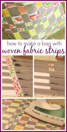 Make your own bag out of Fabric Strips!! Simple sewing project idea, with a FREE pattern tutorial - - Sugar Bee Crafts