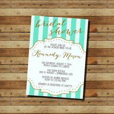 Bridal Shower Invitation (digital file) Glitter Gold and Mint Invite