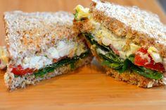Greek yogurt egg salad sandwich. 450 kcal. Portion on http://www.fitlessflavor.com/week-2-meal-plan/