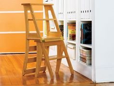 Benjamin Franklin first designed the innovative step stool that doubles as a chair. We've created a version that's easy to build and ideal for any home. It's a four-step design that's hinged at the middle step. When the top pivots down to the floor, the m