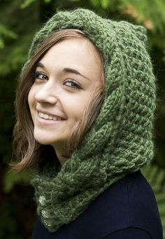Free Knitting Pattern for Knockma Hood - Textured hood with cable braid brim in two sizes. Quick knit in super bulky yarn. Designed for Cascade Yarns by Adina Logsdon who named it after an Irish fairy fortress.