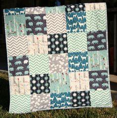 Organic Baby Boy Quilt, Blue Teal Grey Gray, Birch Fabric, Elk Deer Woodlands Forest, Modern Blanket, Chevron Bear Bunting