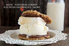Reese'sOatmeal Cookie Icecream Sandwich S'more by In the Wild Kitchen Sweet Desserts, Dessert Recipes, Icecream Sandwich, Hershey Recipes, Hershey Chocolate, Oatmeal Cookies, Sandwiches, Ice Cream, Kitchen