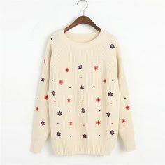 Funshop Woman's Full Flowers Pattern Sweater 081219 Color Beige