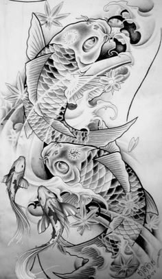 Koi Fish-Tattoo Sketches ~ Our Tattoo Shop Tattoo Sketches, Tattoo Drawings, Body Art Tattoos, Sleeve Tattoos, Tattoo Arm, Swirl Tattoo, Henna Tattoos, Trendy Tattoos, Cool Tattoos