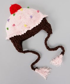 Take a look at this Pink & Brown Cupcake Earflap Beanie by San Diego Hat Company on #zulily today!