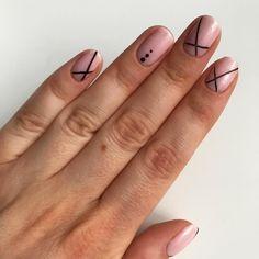 Short nude geometric nails