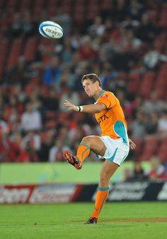 Johan Goosen of the Cheetahs kicks offduring the 2012 Super Rugby match between MTN Lions and Toyota Cheetahs, at Coca Cola Park on February 25, 2012 in Johannesburg, South Africa.