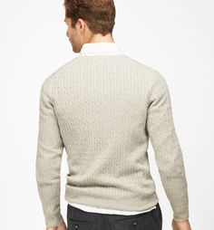 CABLE KNIT V-NECK SWEATER - MEN - Massimo Dutti