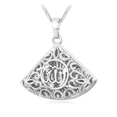 U7 Muslim Islamic Jewelry Platinum Plated Vintage Design Triangle Fan Shaped Allah Pendant Necklace *** Check out the image by visiting the link.