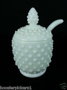 Fenton ~ Milk Glass Hobnail ~ Jam Jelly Condiment Mustard Jar Pot w/ Lid & Spoon