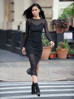 Cut-price chic: Supermodel Chanel Iman was spotted out in a Kohl's frock that cost just $68 as she left the Roxy Hotel in the Tribeca district of New York on Wednesday morning