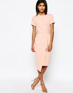 Image 1 ofASOS Belted T-Shirt Waterfall Pencil Dress